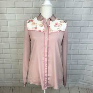 ⭐️American Eagle Blouse Long Sleeve Pink Top